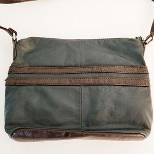 Stone Mountain Leather Crossbody Bag Green Brown